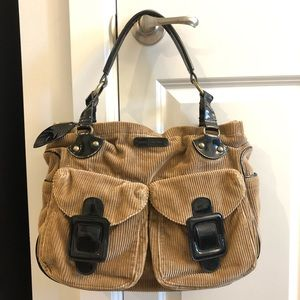 French Connection Brown Tan Corduroy Bag - EUC